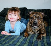 A 4 month old brindle female from Mugleston's and her best friend. These two are inseperable